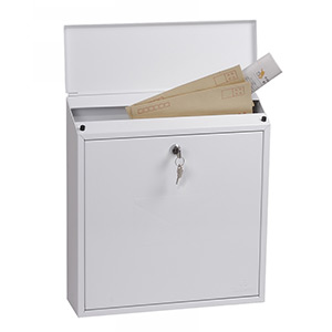 Phoenix Casa Top Loading Mail Box MB0111KW in White with Key Lock