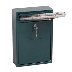Phoenix Letra Front Loading Mail Box MB0116KG in Green with Key Lock