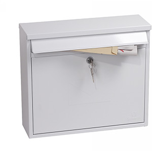Phoenix Correo Front Loading Mail Box MB0118KW in White with Key Lock