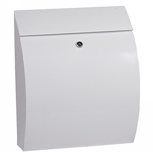 Phoenix Curvo Top Loading Mail Box MB0112KW in White with Key Lock