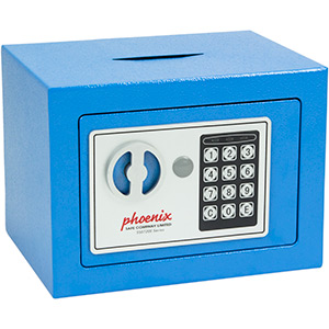 Phoenix Compact Home Office SS0721EBD Blue Security Safe with Electronic Lock & Deposit Slot