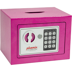 Phoenix Compact Home Office SS0721EPD Pink Security Safe with Electronic Lock & Deposit Slot