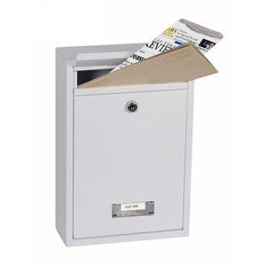 Phoenix Letra Front Loading Mail Box MB0116KW in White with Key Lock
