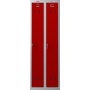 Phoenix PL Series PL2160GRK 2 Column 2 Door Personal Locker Combo Grey Body/Red Doors with key Locks