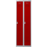 Phoenix PL Series PL2160GRE 2 Column 2 Door Personal Locker Combo Grey Body/Red Doors with Electronic Locks