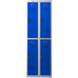 Phoenix PL Series PL2260GBC 2 Column 4 Door Personal Locker Combo in Grey Body/Blue Doors with Combination Locks