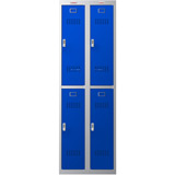 Phoenix PL Series PL2260GBE 2 Column 4 Door Personal Locker Combo Grey Body/Blue Doors with Electronic Locks