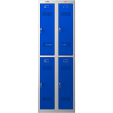 Phoenix PL Series PL2260GBK 2 Column 4 Door Personal Locker Combo Grey Body/Blue Doors with Key Locks