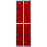 Phoenix PL Series PL2260GRC 2 Column 4 Door Personal Locker Combo in Grey Body/Red Doors with Combination Locks