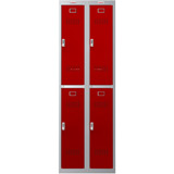 Phoenix PL Series PL2260GRE 2 Column 4 Door Personal Locker Combo Grey Body/Red Doors with Electronic Locks