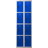 Phoenix PL Series PL2460GBC 2 Column 8 Door Personal Locker Combo Grey Body/Blue Doors with Combination Locks