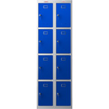 Phoenix PL Series PL2460GBK 2 Column 8 Door Personal Locker Combo Grey Body/Blue Doors with Key Locks