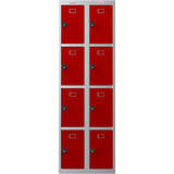 Phoenix PL Series PL2460GRC 2 Column 8 Door Personal Locker Combo Grey Body/Red Doors with Combination Locks