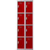 Phoenix PL Series PL2460GRE 2 Column 8 Door Personal Locker Combo Grey Body/Red Doors with Electronic Locks