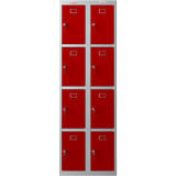 Phoenix PL Series PL2460GRK 2 Column 8 Door Personal Locker Combo Grey Body/Red Doors with Key Locks