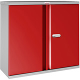 Phoenix SCL Series SCL0891GRE 2 Door 1 Shelf Steel Storage Cupboard Grey Body & Red Doors with Electronic Lock