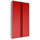 Phoenix SCL Series SCL1891GRK 2 Door 4 Shelf Steel Storage Cupboard Grey Body & Red Doors with Key Lock